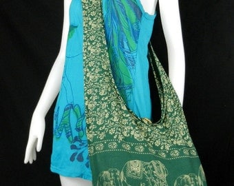Hippie Hobo Cotton Sling Crossbody Bag Messenger Purse Elephant Floral Large in Green EL6