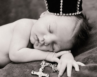 "Original Mini Royal Baby Crown : King BE Crown ""Fauntleroy""  Mini Rhinestone Prince Crown Newborn Photo Prop... Newborns Toddlers Birthday"