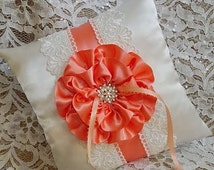 Ivory and Coral Ring Bearer Pillow with lace trim. Custom, Made to Order, Ring Pillows, Wedding Pillow, Quinceanera kneeling pillow