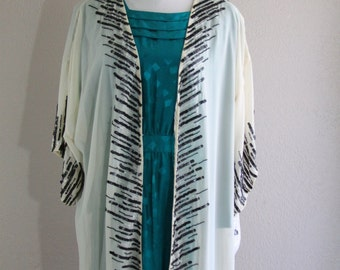 boho sheer caftan kimono with black & white beads and sequins- deadstock with tags- one size
