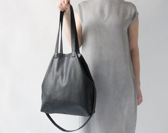 Multi-functional Leather Tote Black, Leather Shopper, Crossbody Bag, Shoulder Bag, Costum lining color