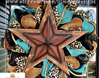 Western Star Burlap Leopard Wreath