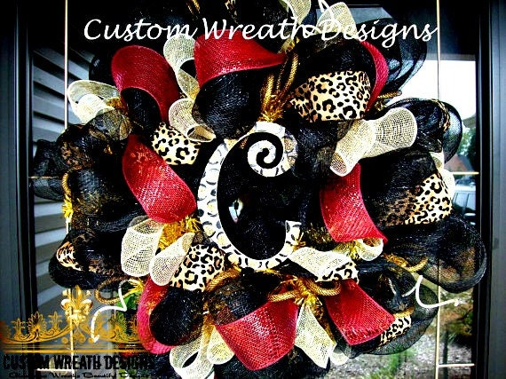 Maroon and Cream Leopard Wreath with letter of choice