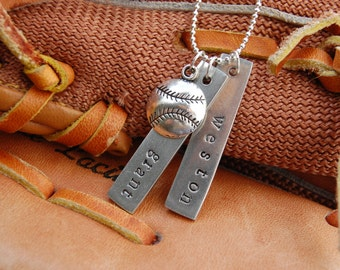 Double the Trouble Baseball Mom Personalized Hand Stamped Charm Necklace