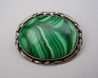 Antique German Art Nouveau Jugendstil Theodor Fahrner Alfred Bernheim Pforzheim TF Depose 935 Sterling Silver Malachite Brooch Pin Brosche