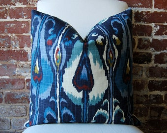 Ikat Bands - Indigo -  Pillow Cover - 20 in square - Designer Pillow - Decorative Pillow