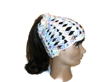 Crochet Ponytail Hat,  Ponytail Hat Crocheted Ready to ship  Handmade Ponytail Hat, handcrocheted