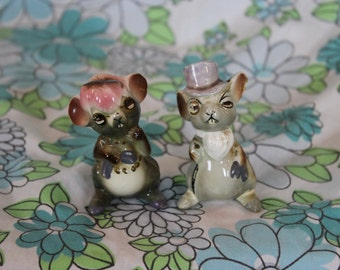 Pair of Anthropomorphic Mice Figurines Dressed in Top Hat and Scarf