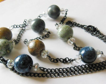 Colorful Ceramic on chain necklace 584
