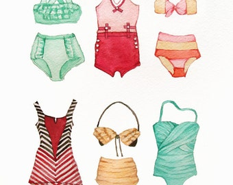 Vintage Bathing Suits Painting Watercolor Print- Beach - Ocean - Sea- Red Green Turquoise Yellow