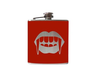 Vampire Kiss Flask- alcohol, liquor, booze, wedding, bridal party, hip pocket- Personalized Custom - YOU pick COLOR, SIZE