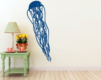 Jellyfish Wall vinyl DECAL- fish ocean sea Animal interior design, sticker art, room, home and business decor