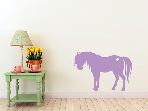 Pony, horse with heart vinyl Wall DECAL- Animal interior design, sticker art, room, home and business decor