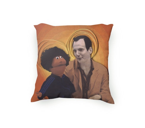 Pillow Featuring Arrested Development's Gob and Franklin Bluth, Paper Quilling and Etching design, In a red orange, Pillow Cover Only