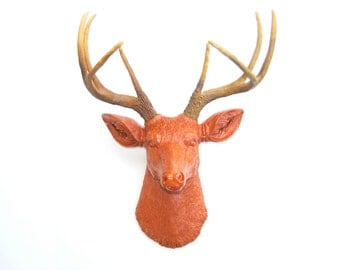 Burnt Orange Deer Head Wall Mount - Deer Head Antlers Faux Taxidermy D2000