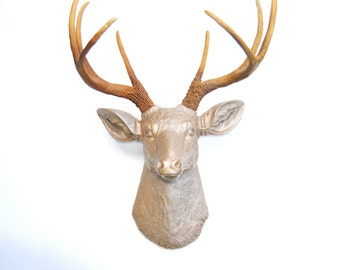 Metallic Caramel Deer Head with Natural Brown Antlers - Resin Deer Head - Deer Head Antlers Faux Taxidermy D2500