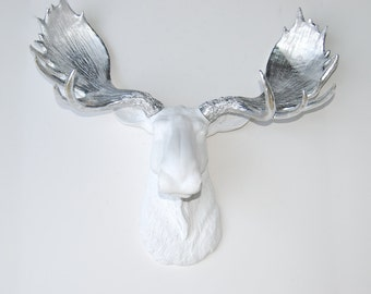 White Moose Head - Metallic Silver Antlers  - Faux Taxidermy Moose M0110