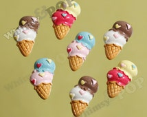 5 - Ice Cream Cabochons, Kawaii Ice Cream Cone Double Scoop Resin Flatback Cabochons, 12mm x 23mm (R6-075)