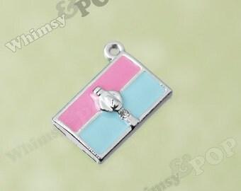 1 - Pink and Blue Handbag Purse Rhinestone Crystal Pendant Enamel Charm, Handbag Charm, 20mm x 16mm (3-5G)