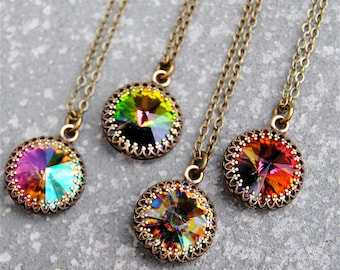 Rainbow Pendant Necklace Earrings Jewelry Set Swarovski Crystal Crown Victorian Jewelry Peacock Vintage Vitrail Monets Water Lily Rainbow