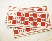 vintage bingo cards - set of 6 red numbered paper ephemera - 1940s mixed media supply
