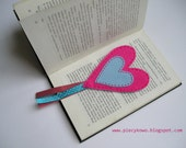 Love is in the air - Heart Shaped Blue and Pink Felt Bookmark