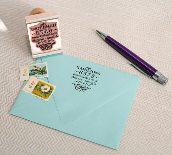 Custom return address stamp BOOK SPINE DESIGN with wood handle - envelope stamp - wedding address stamp