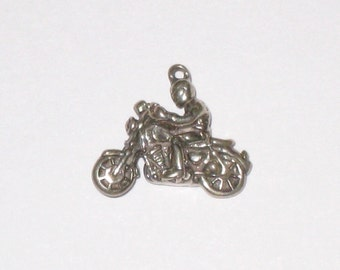 Motorcycle and Rider Vintage SHUBE'S 3-D Sterling Silver Charm / 3.1 Grams