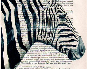 Portrait Drawing Illustration Giclee Prints Posters Mixed Media Art Acrylic Painting Holiday Decor Gifts: Barcode zebra