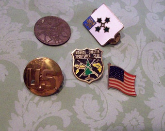 Lot of 5 vintage mens Military Pins army flag steampunk industrial navy marines