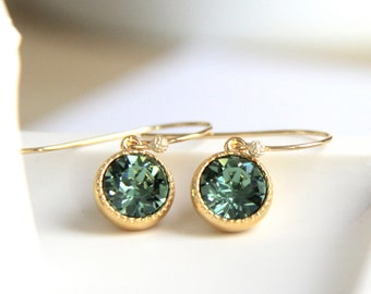 Swarovski Green Earrings with Erinite Green Crystals - Gift for Her