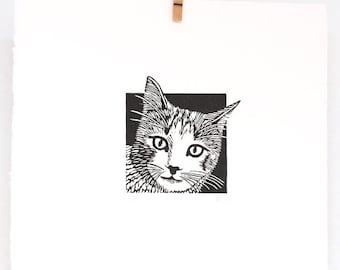 Linocut animals, cat, poes, animal linocut, hand printed wall art