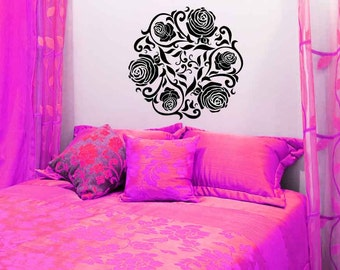 Rose Medallion, Rose Wall Decal, Rose Decor, Flowers, Leaves, Swirl Decal, Floral, Ceiling Medallion, Home Art, Bedroom, Table Top Decor