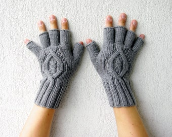 Mens Fingerless Gloves Gift For Him - Grey Etsy Dudes Cable pattern Gray Knit Gloves Hand Warmers