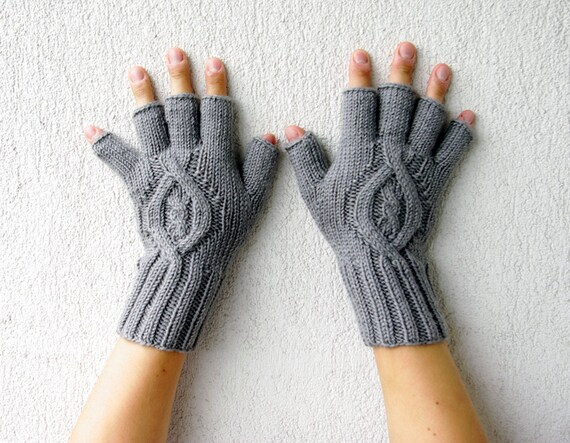 Mens Fingerless Gloves Gift For Him Grey Etsy Dudes Cable