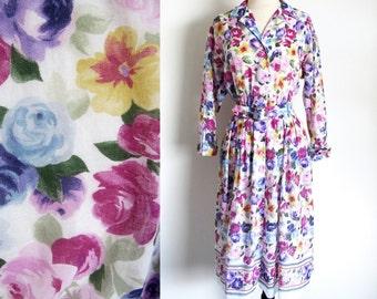 Vintage Shirtwaist Dress, Flower Print Dress, 70s Day Dress
