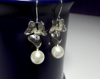 Orchid Pearl Drop Earrings, Christmas Gift, Mother Sister Grandmother Jewelry Earrings, Cocktail Jewelry