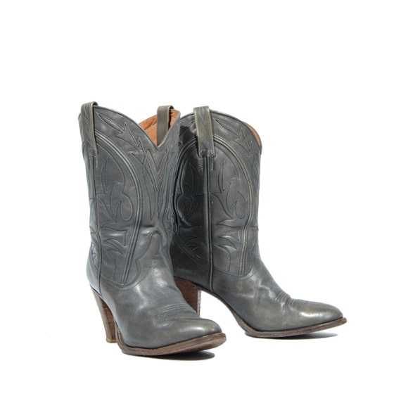 7 m stacked heel cowboy boots western by shopndg