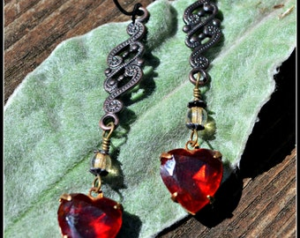Vintage Valentine Earrings with siam ruby red heart shaped glass charms and bronze paisley charm