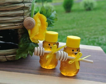 Wedding Honey Favors, 20 Mini Bears Filled With Raw Natural Honey