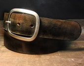 Leather belt - Vintage Aged leather belt handmade in USA - B102