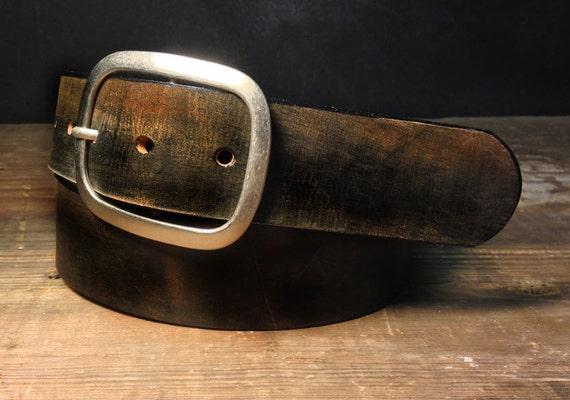 Vintage Aged Leather Belt  -   - B102  Handmade in USA