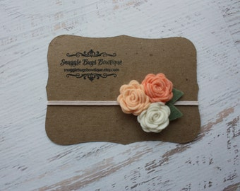 Felt Flower Headband - Rose Bouquet in Soft Peach  - Baby Flower Headband , Newborn Baby to Adult