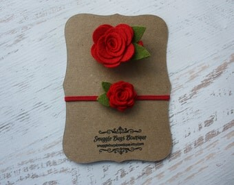 Wool Felt Rose Sister Set in Red- Hairclip and Headband - Newborn Baby to Adult
