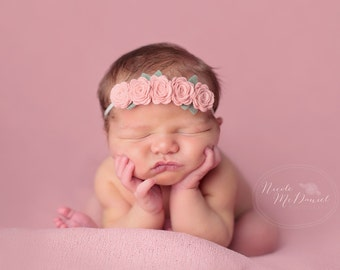 Vintage Pink Rose Garland Headband  - Newborn Baby to Adult - Wool Felt Flower Headband- Shabby Chic Wedding Flower Girl Headband