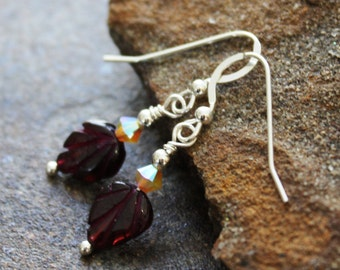 Carved Garnet Leaf Earrings with Sand Opal Swarovski, Sterling Silver