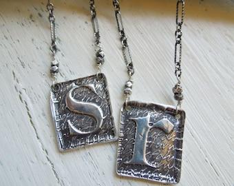 "Handmade ""Poetic"" Initial Pendant Necklace - Lowercase Letters a, c, e, n, o, r, s, t, u, v, x, z - Sterling Silver - OOAK"