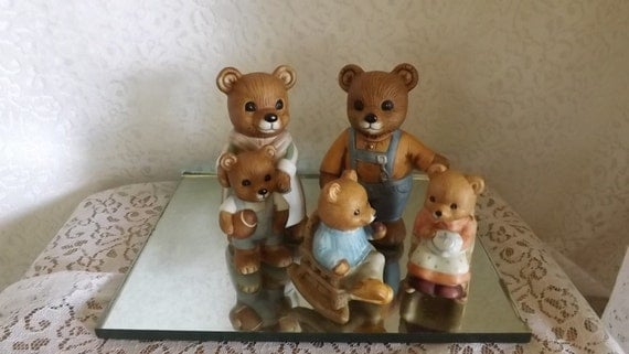 4 Piece Homco Bear Family Papa Bear Mama Bear Girl And Boy