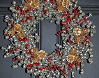 Christmas Wreath-Winter Door Wreath-Winter Decor-Winter Wreath-Holiday Door Wreath-Holiday Decoration-Holiday Decor-Silver Berry Wreath