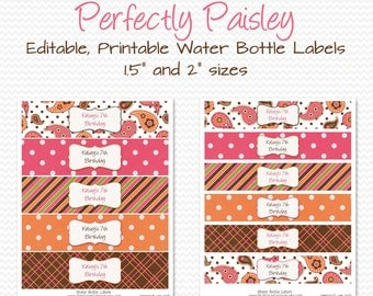 Water Bottle Label, Paisley Birthday Party Decor, Bridal Shower Decoration, Favor, Summer Party Theme - Editable, Printable, Instant